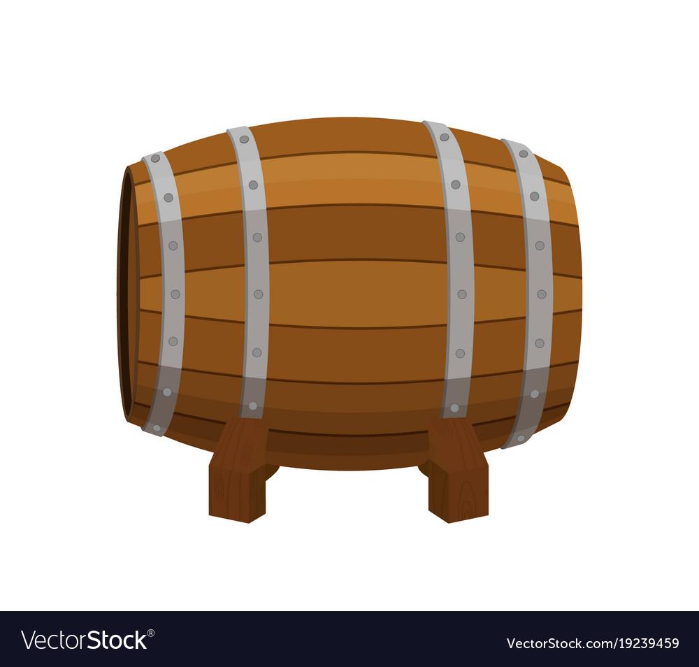 Alcohol drink barrel cartoon flat style