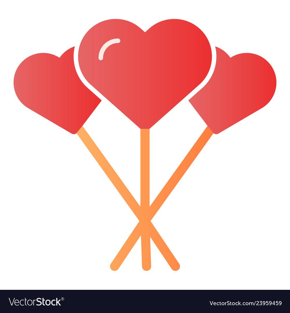 Balloons like heart flat icon love balloons color