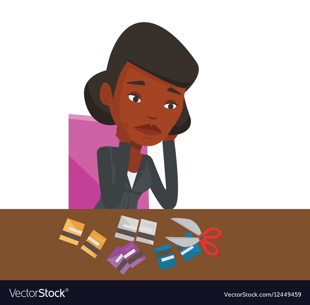 Businesswoman bankrupt cutting his credit card vector image
