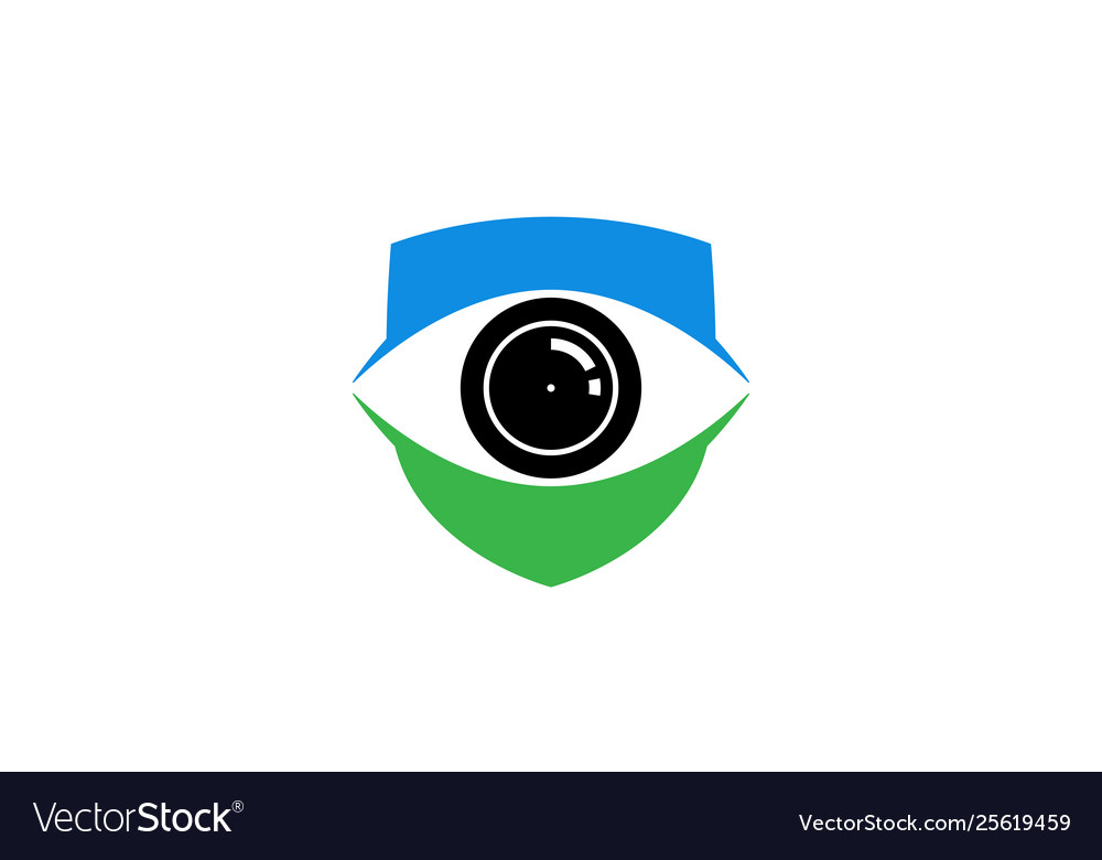Creative blue shield eye vision logo design symbol