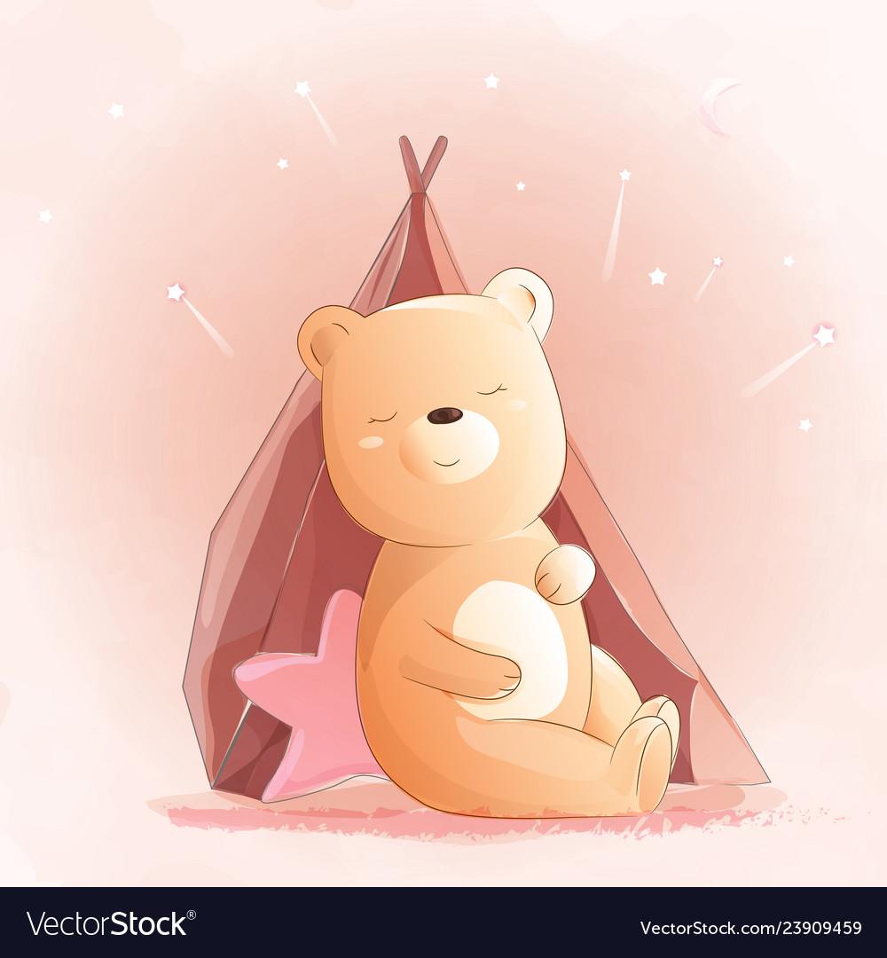 Cute baby bear watercolor style