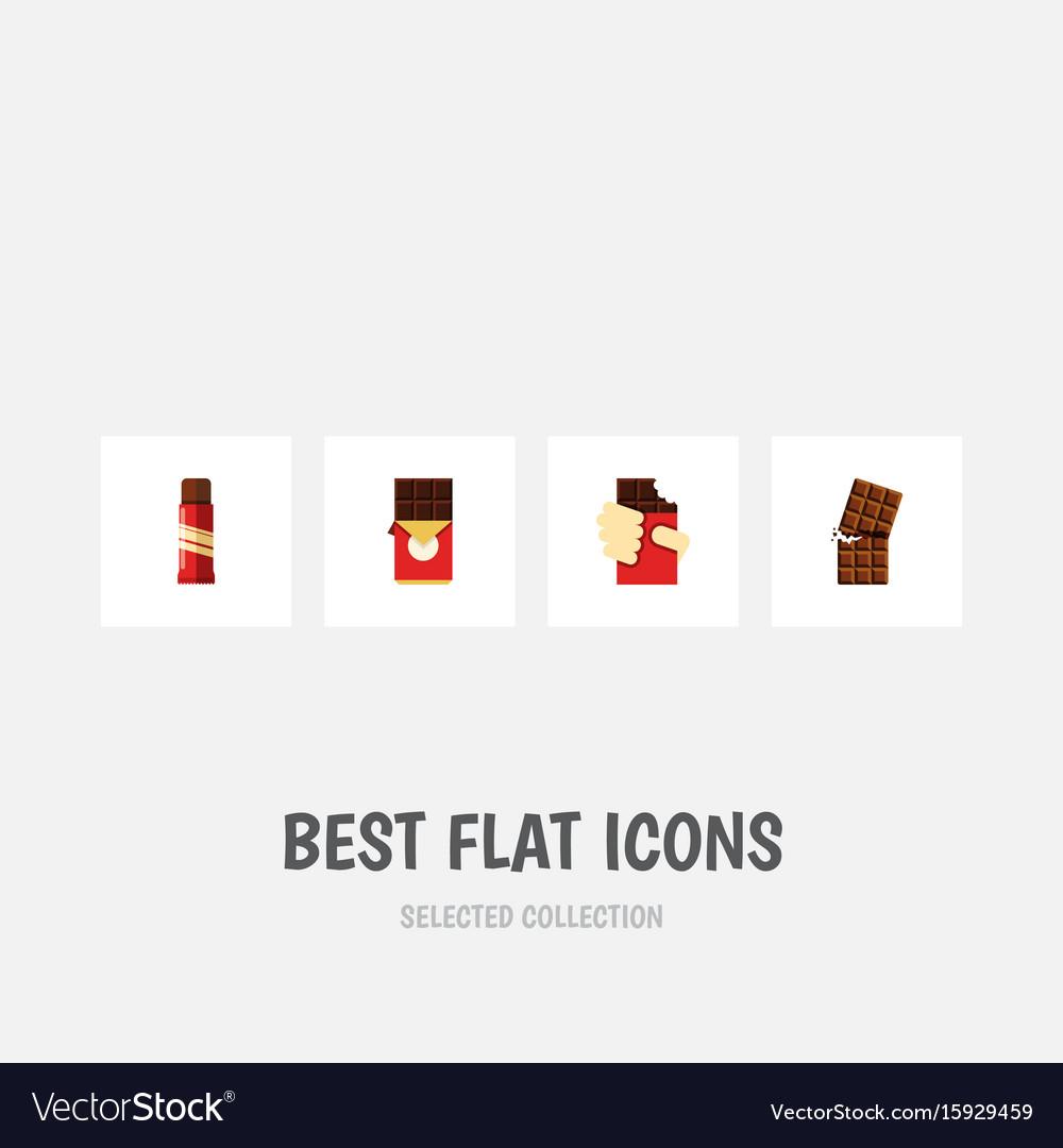 Flat icon chocolate set of shaped box sweet vector image