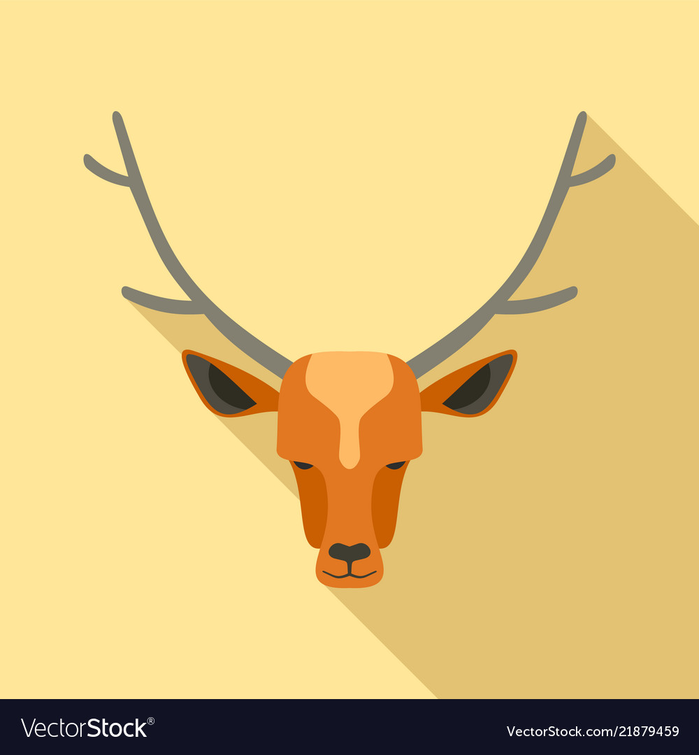 Forest deer icon flat style