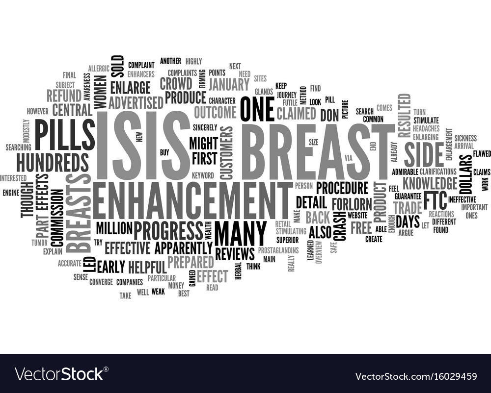 Isis breast enhancement and other companies text vector image