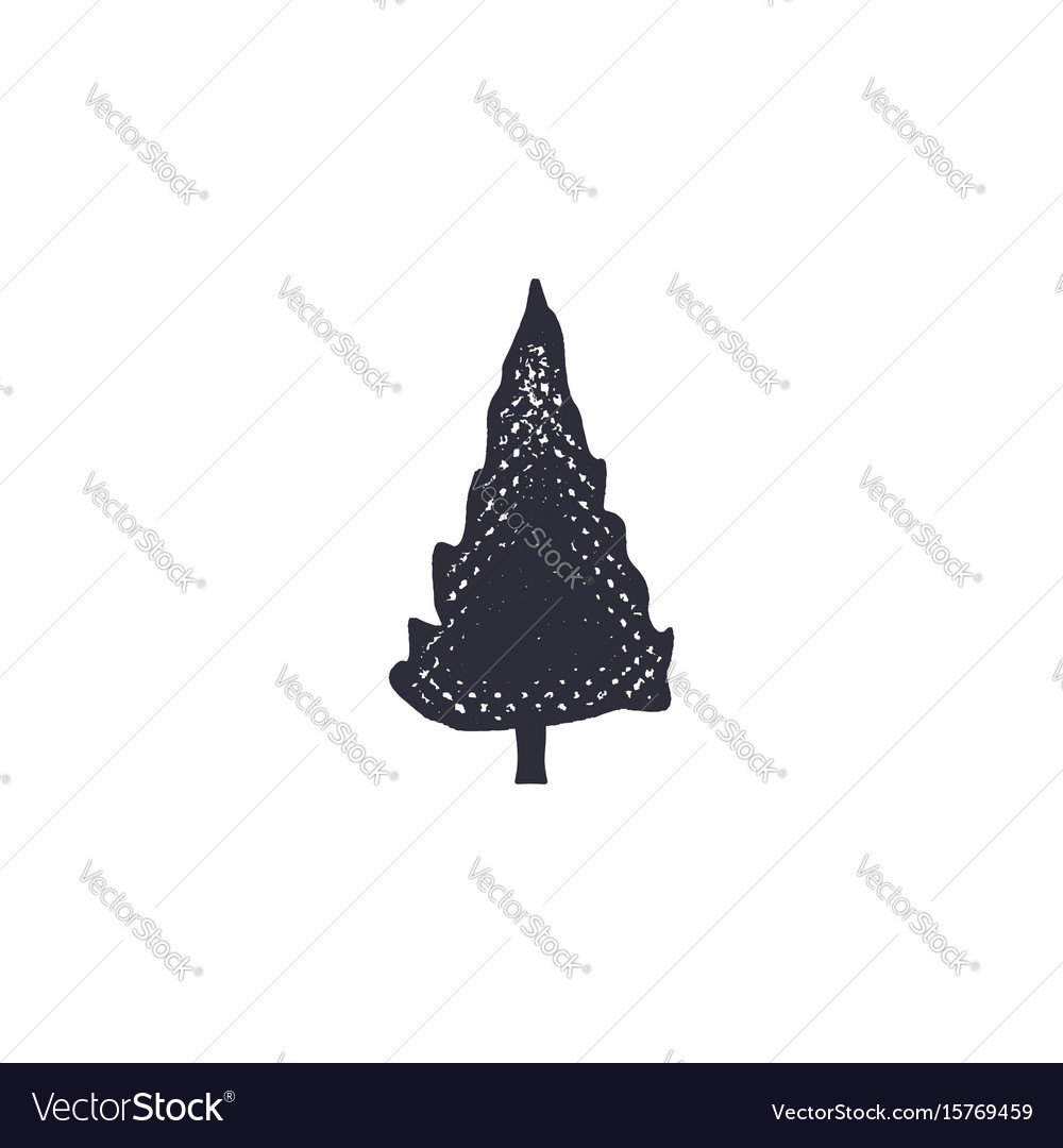 Monochrome tree shape icon vintage hand drawn