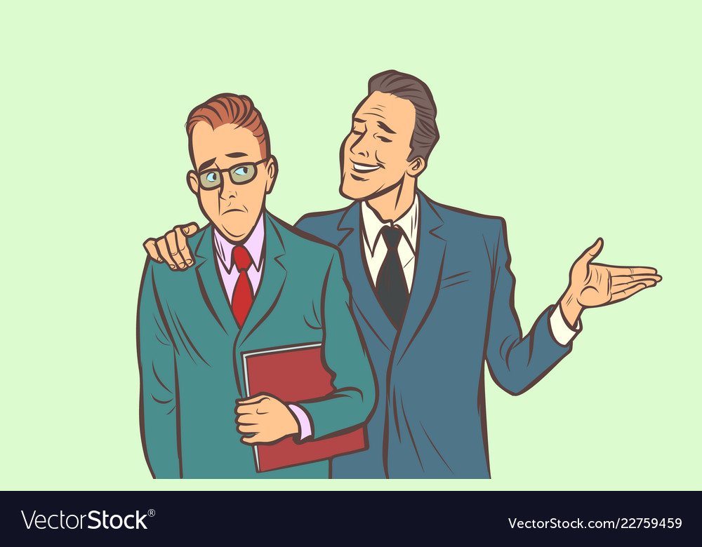 One businessman comforts supports sympathetic