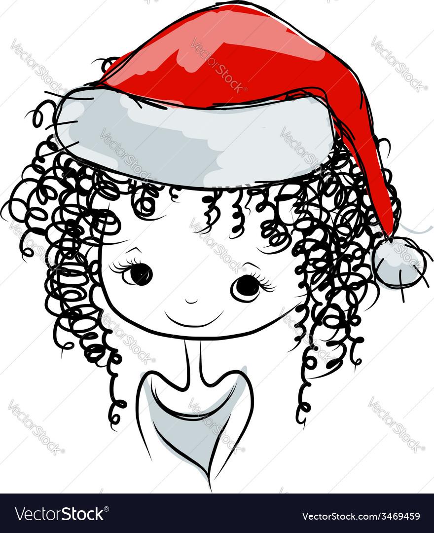 Santa girl portrait sketch for your design