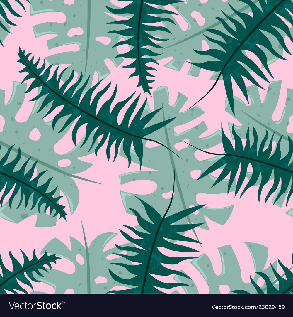 Seamless tropical pattern with fern and monstera