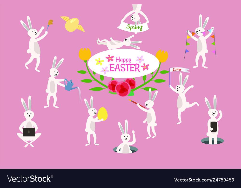 Set cute easter cartoon rabbits and design