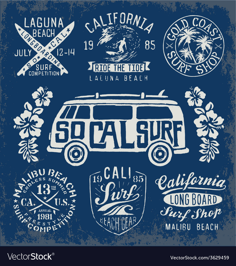 Set vintage surfing graphics and emblems