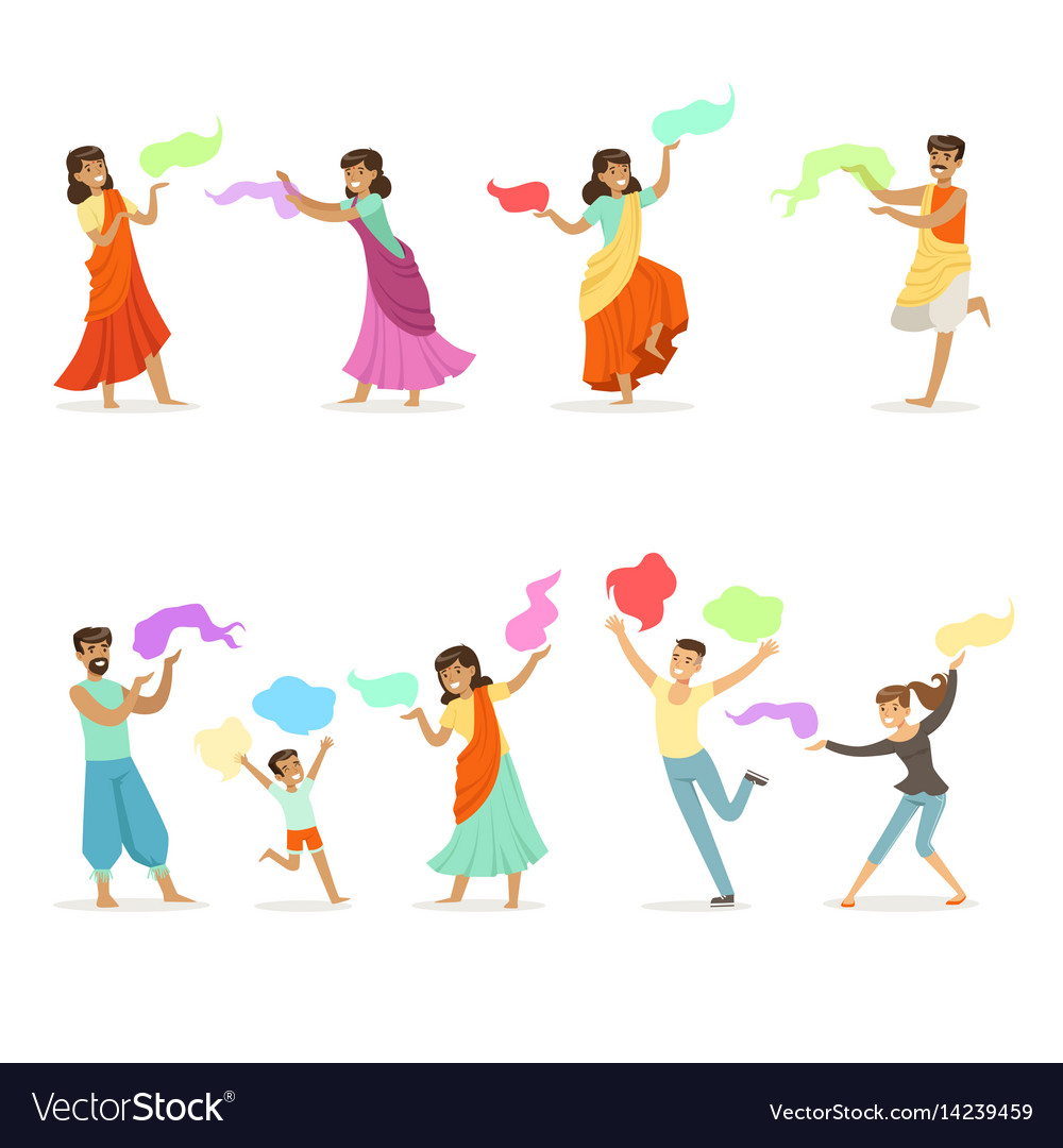 Smiling people dancing in national indian costumes vector image