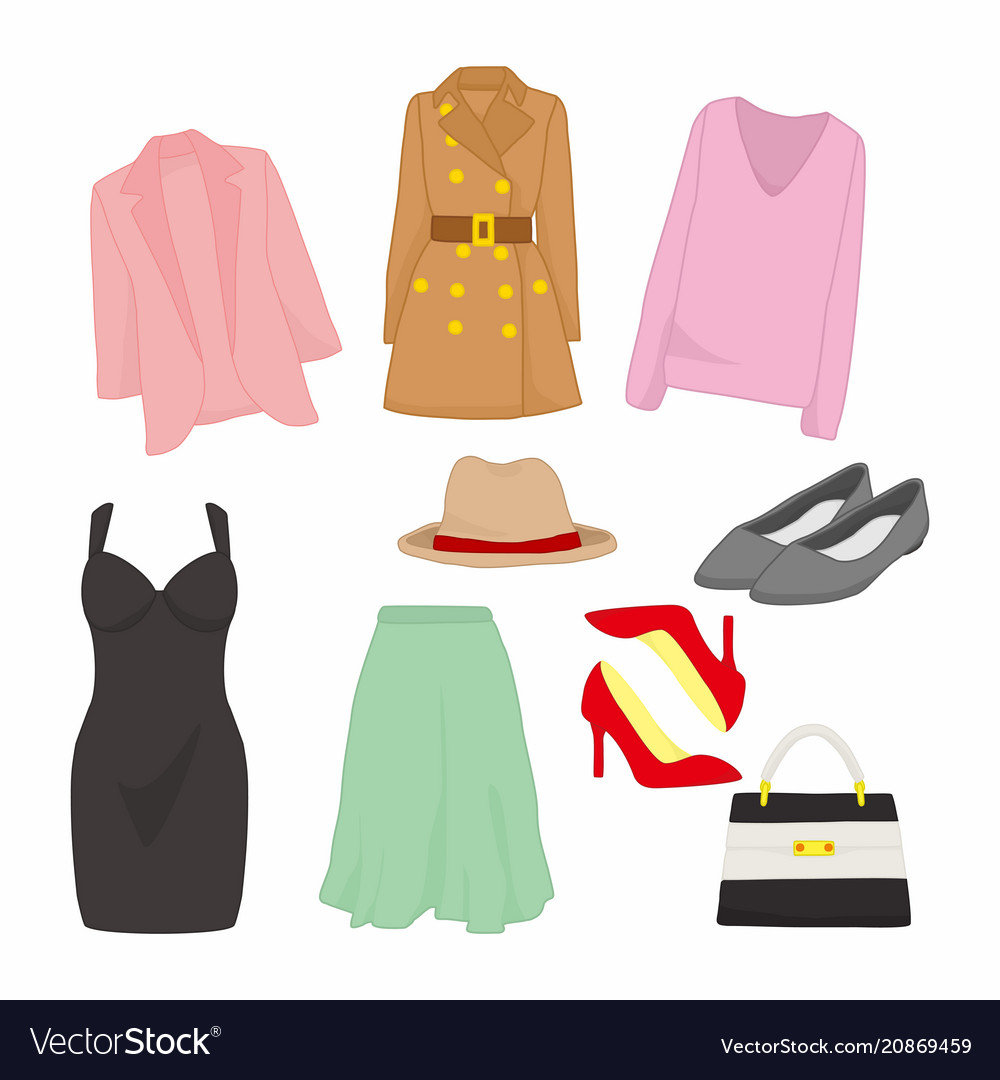 Various feminine fashion style item design set