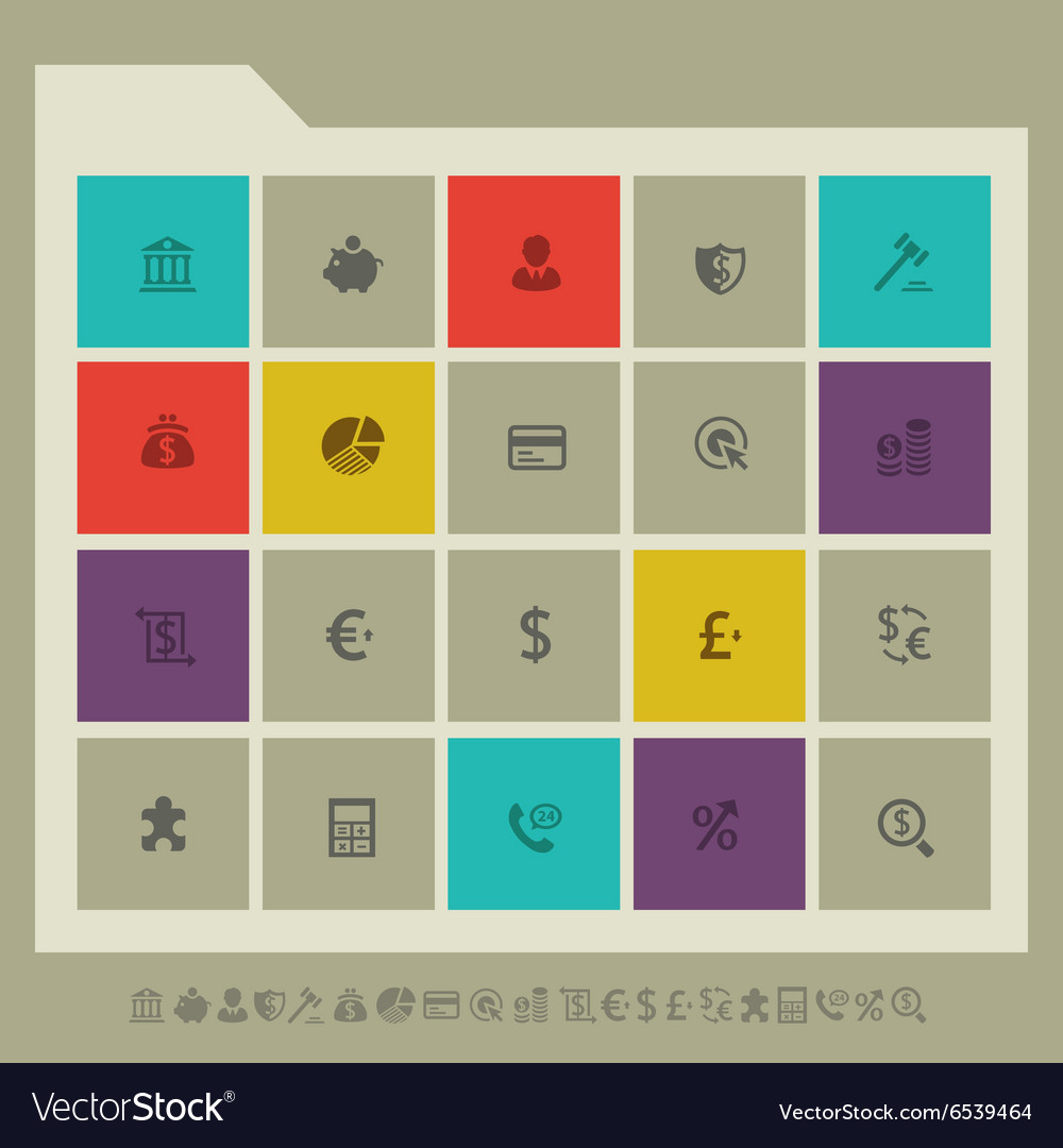 Banking icon set Multicolored square flat buttons