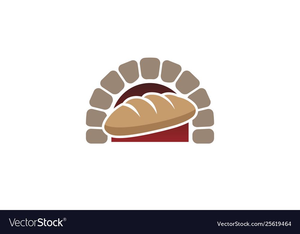 Creative traditional oven bread logo design symbol