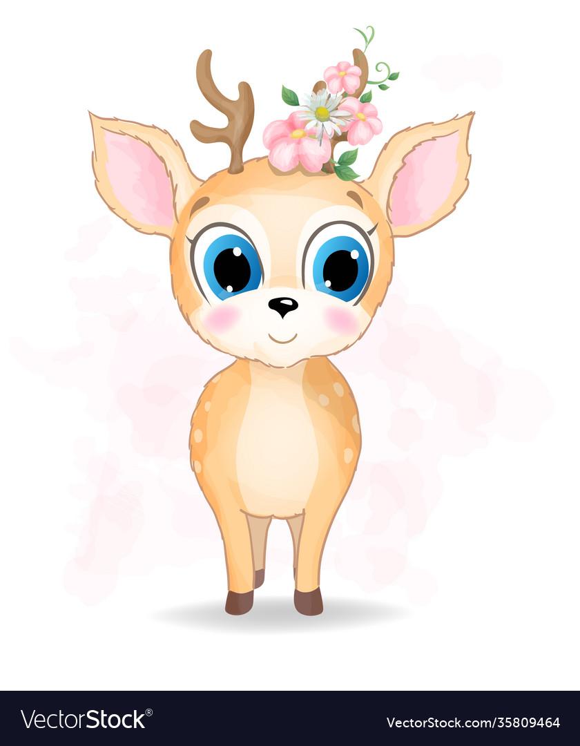 Cute baby deer watercolor