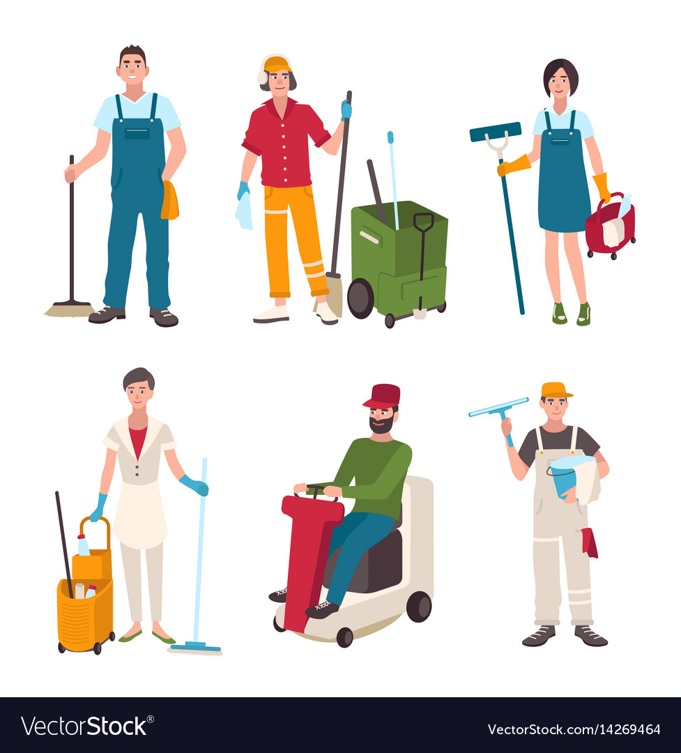 Different janitor set people with cleaning