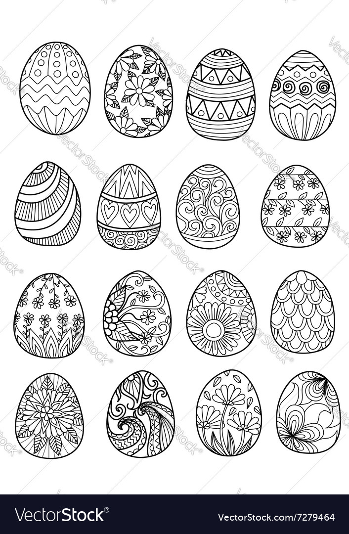 Easter eggs color page vector