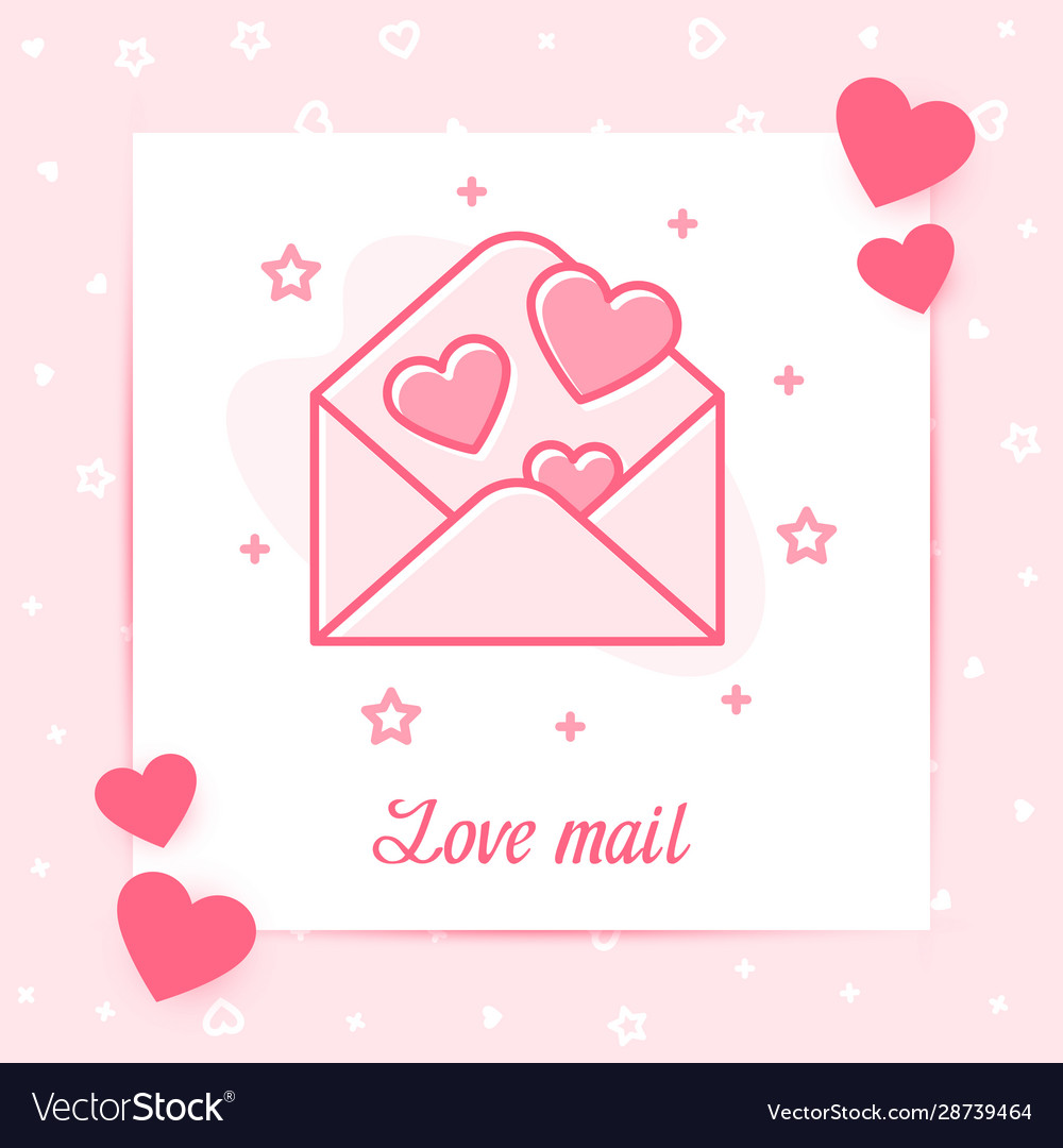 Envelope hearts valentine card love mail text icon