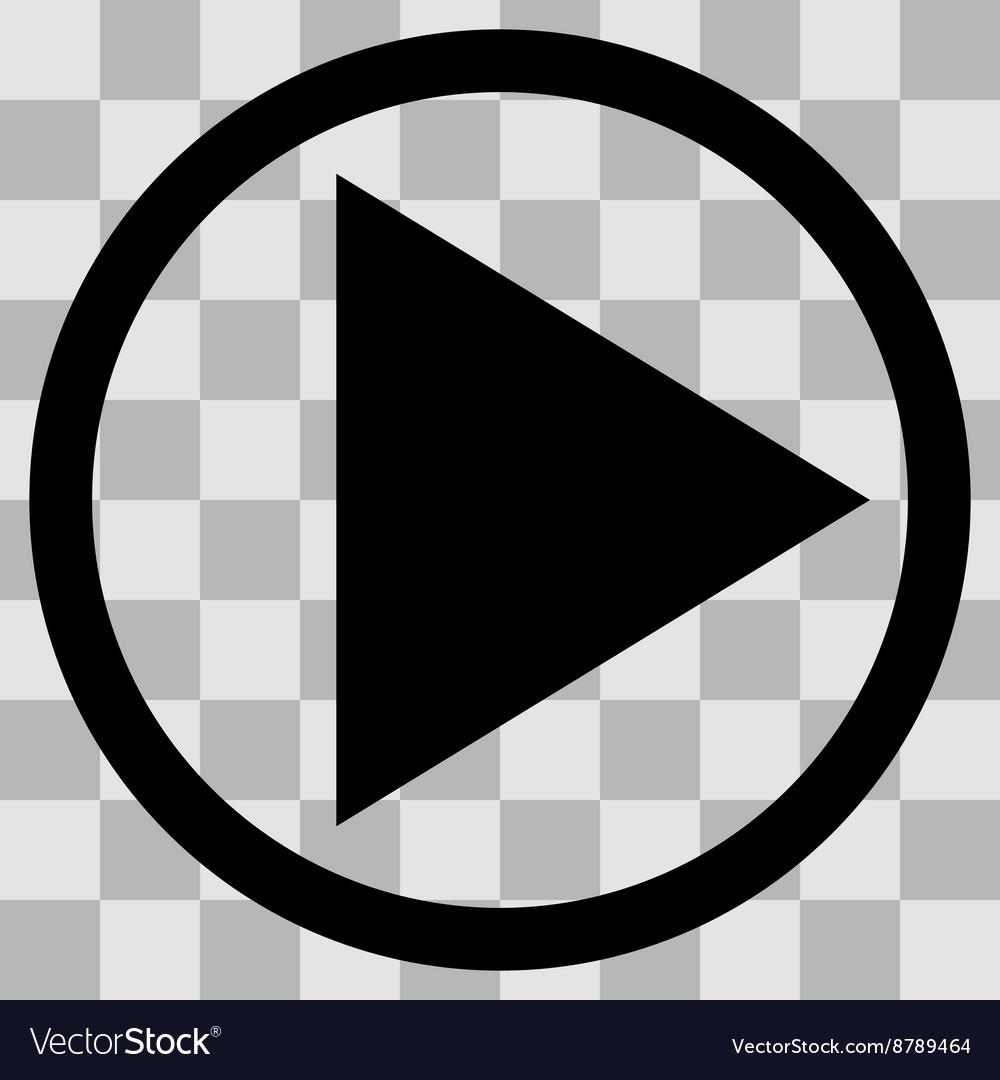 Flat black singl icon play on transparent