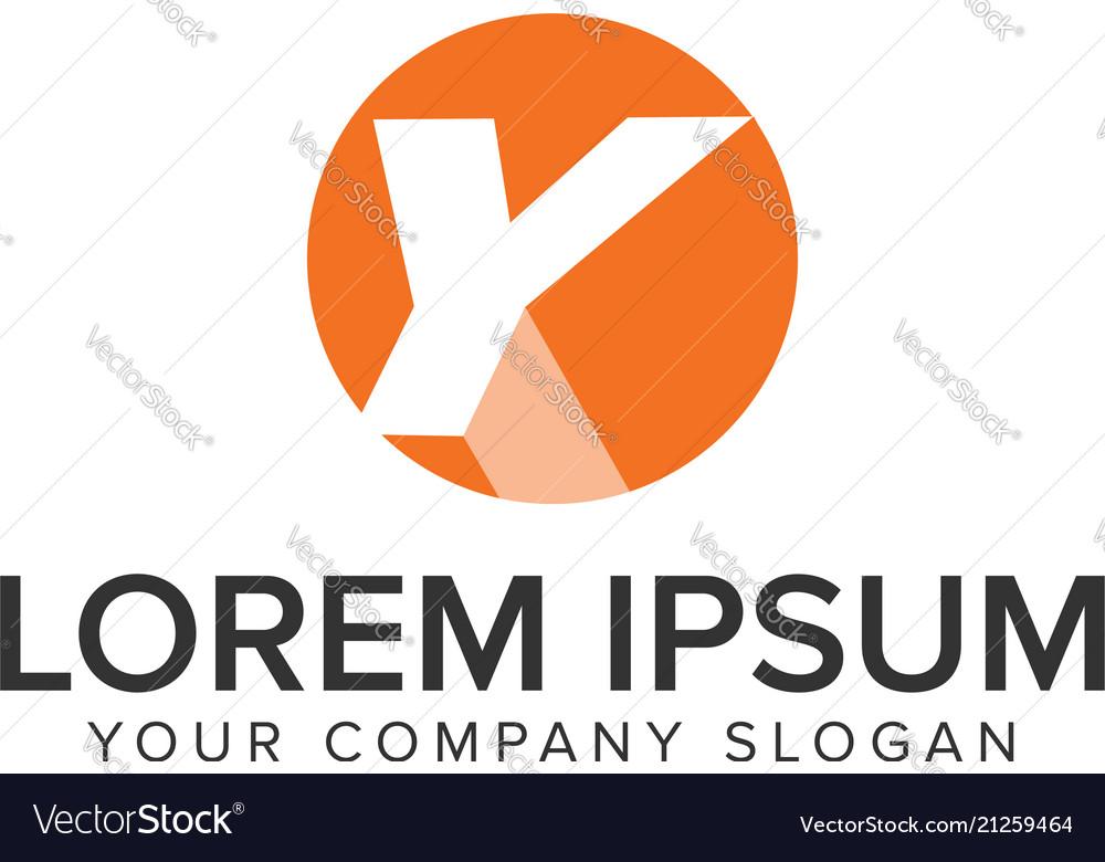 Letter y circle shadow logo negative space design