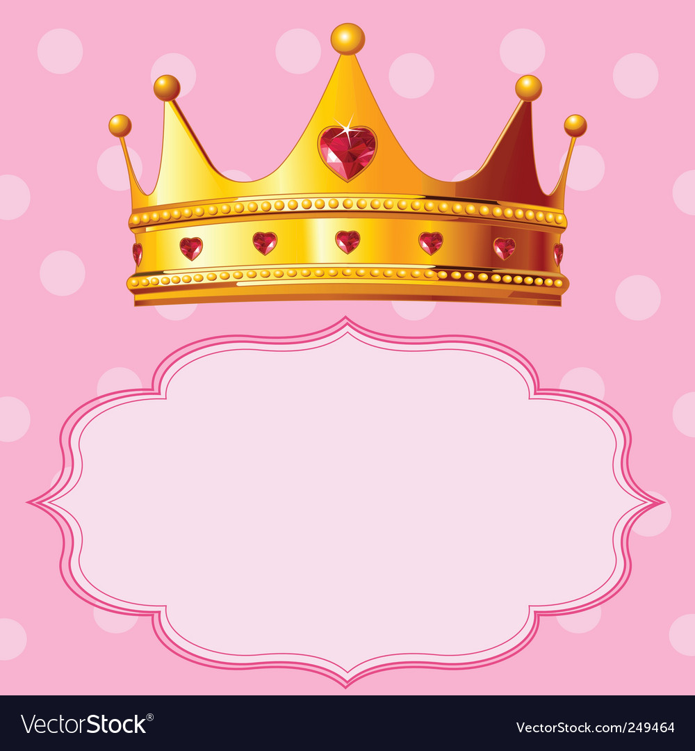 Princess Crown On Pink Background Royalty Free Vector Image