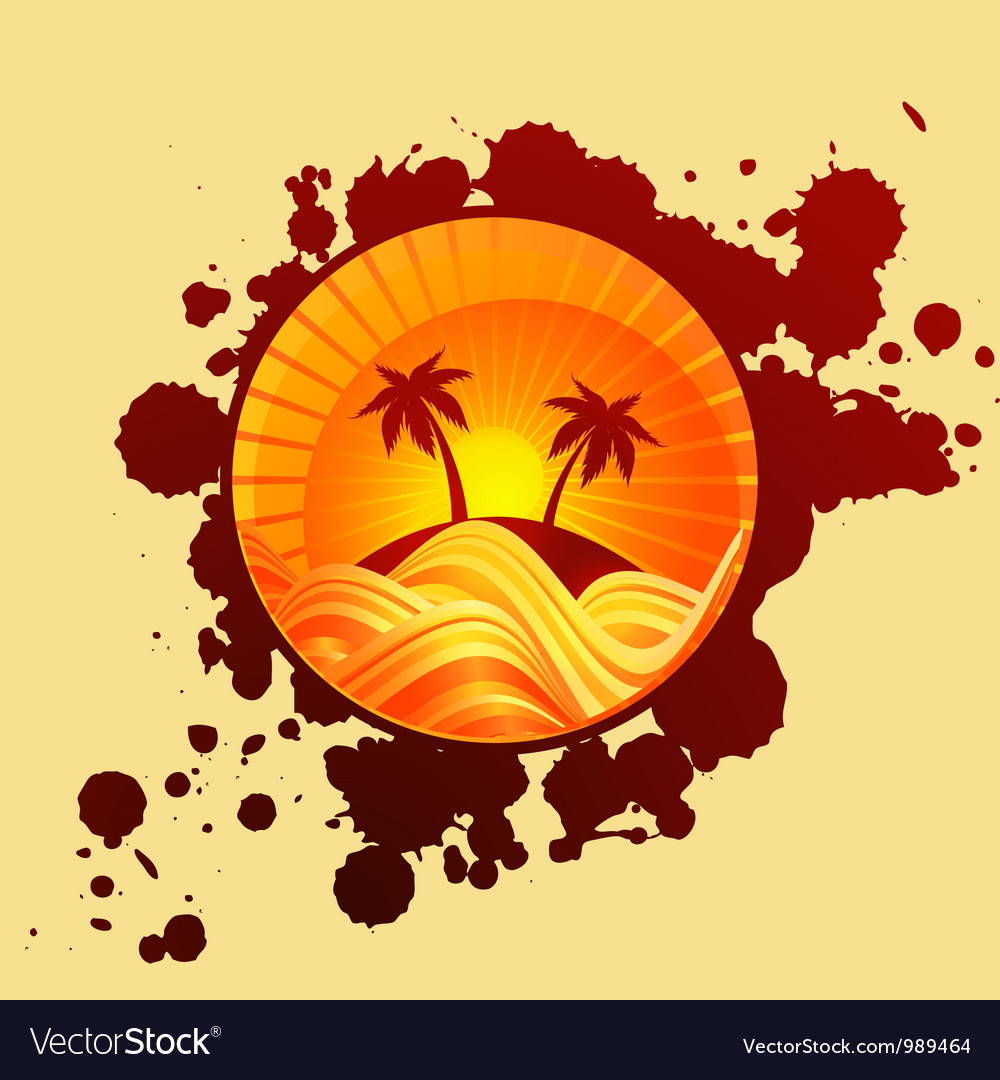 Round summer background of palms and sea in sunset
