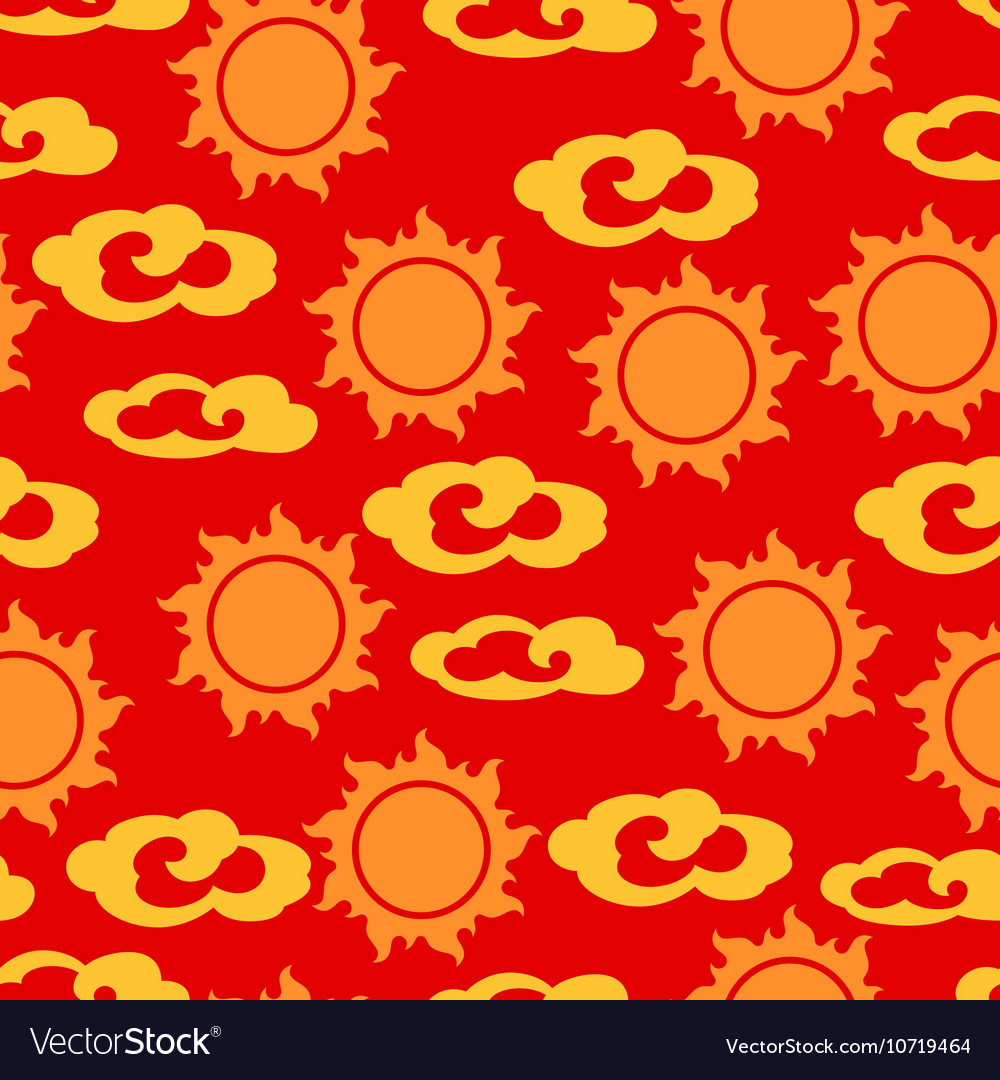 Seamless pattern with sun and clouds in chinese