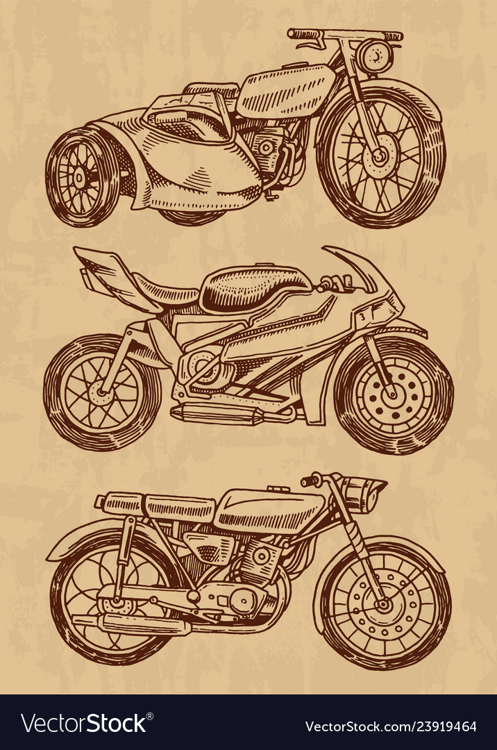 Set vintage motorcycles collection bicycles