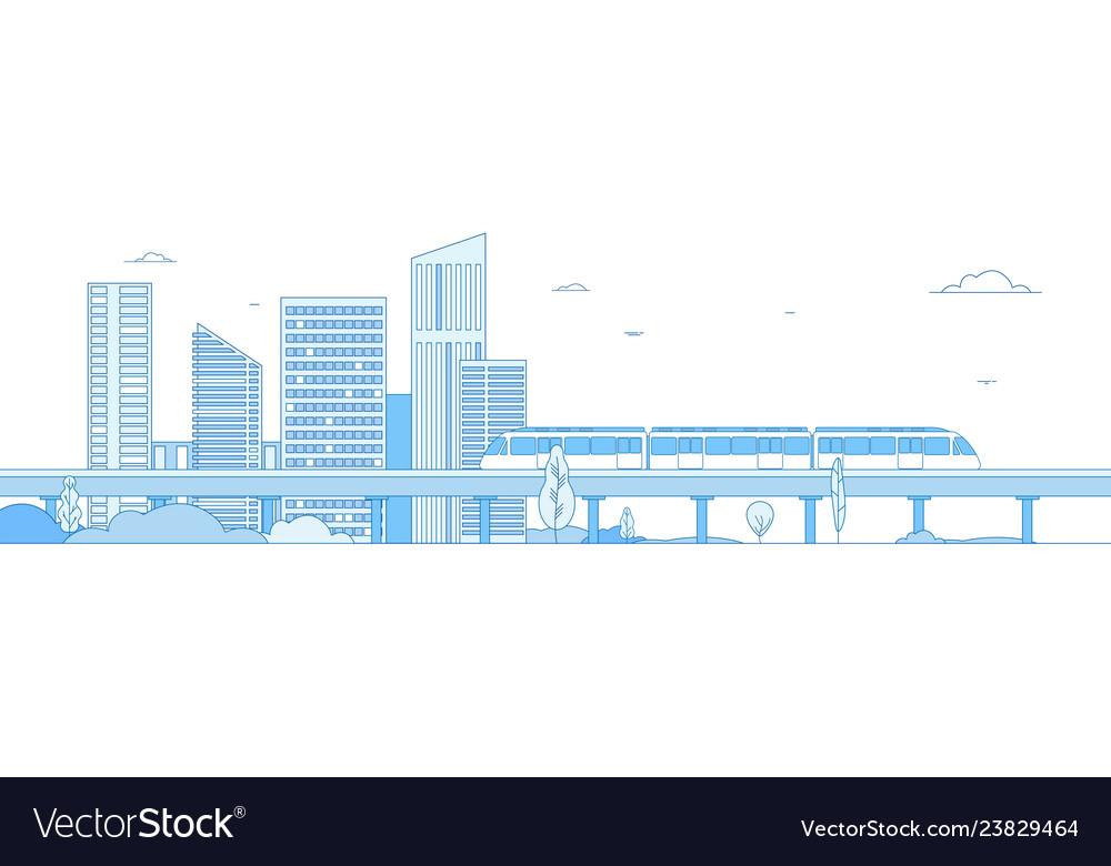 Subway cityscape monorail metro train in