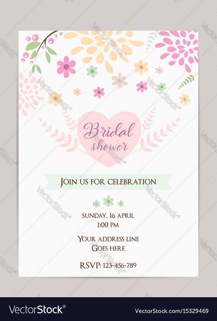 Bridal shower invitation template simple design