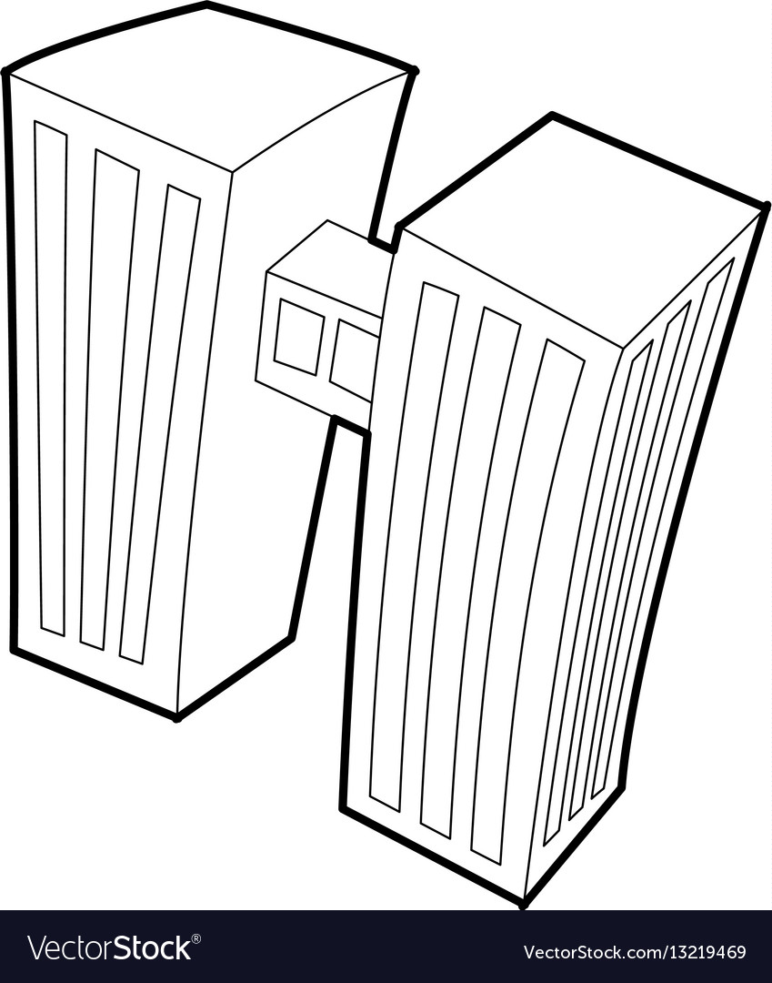 Double building icon outline style