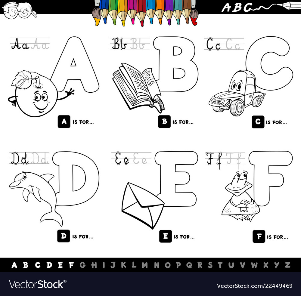 - Educational Alphabet Letters Coloring Book Vector Image