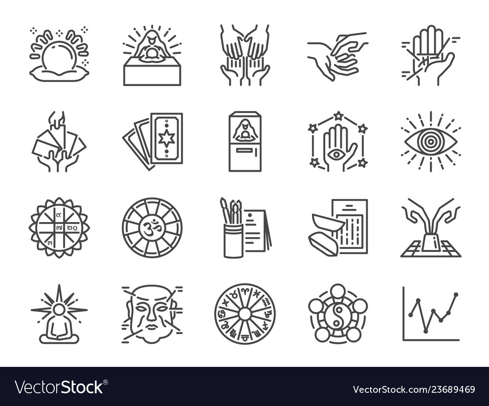 Fortune telling line icon set