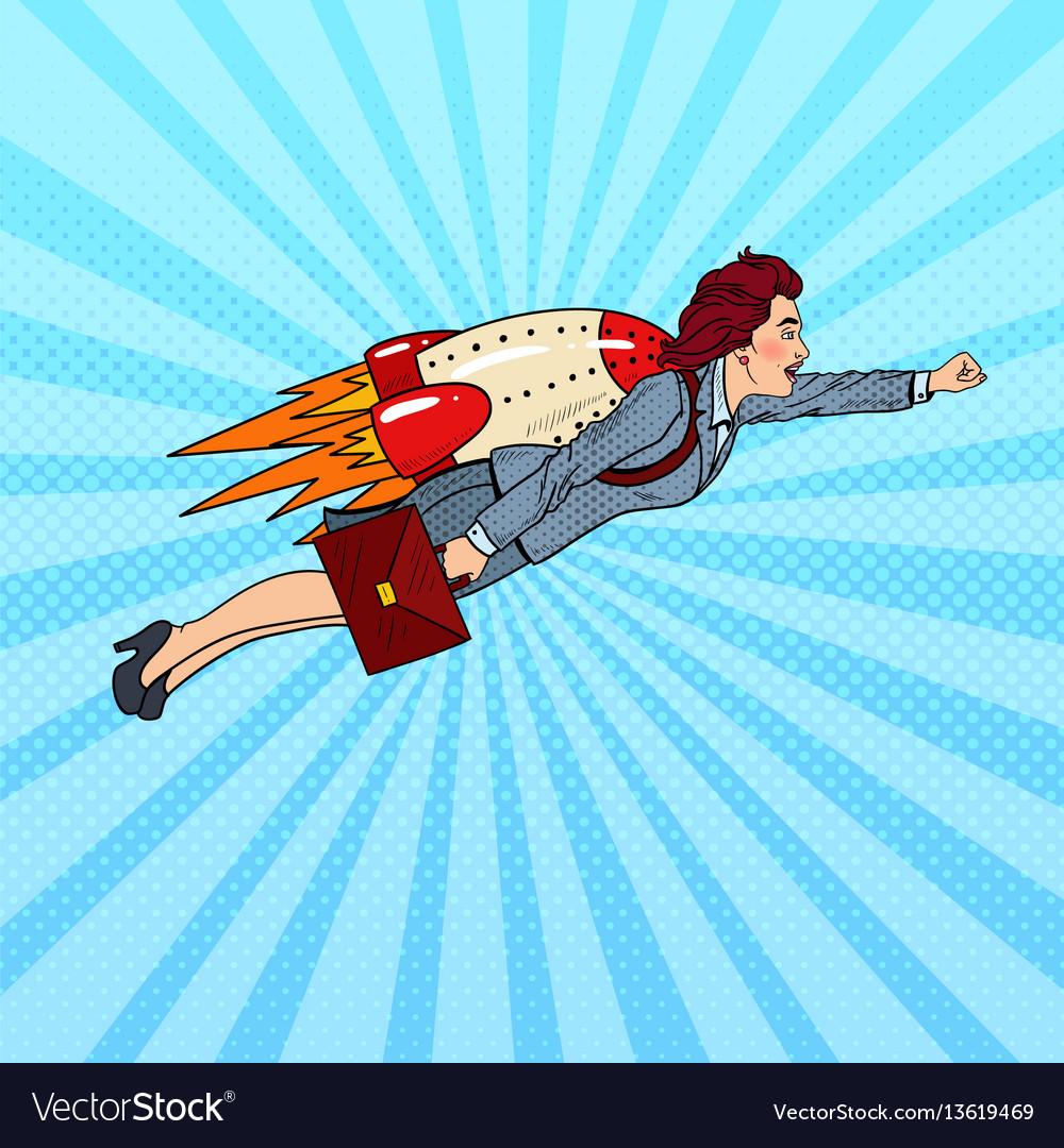 Pop art business woman flying on rocket
