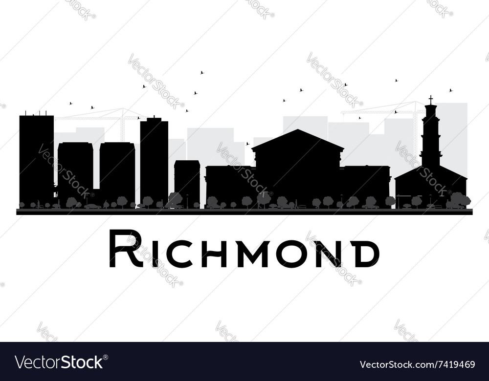 Richmond City skyline black and white silhouette