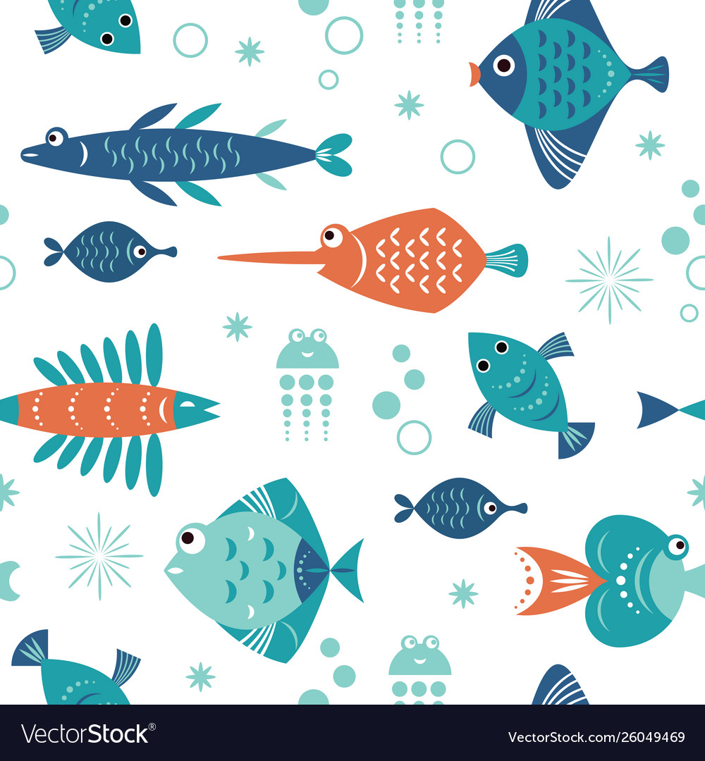 Seamless pattern with unusual beautiful fishes
