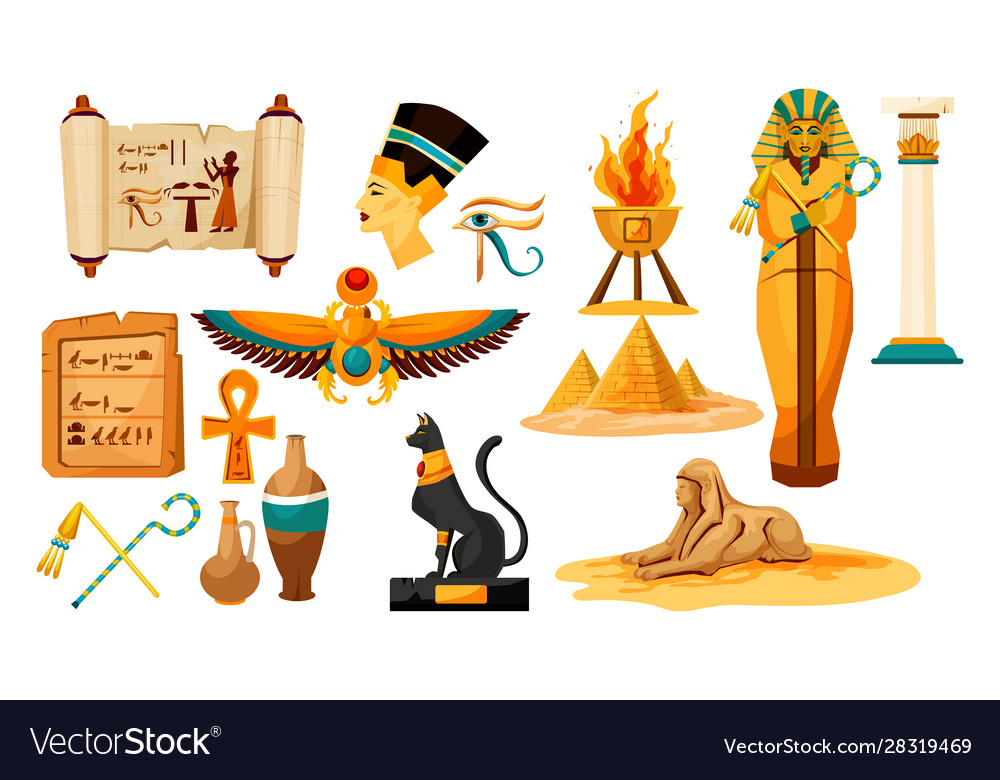 Set isolated egyptian or egypt symbols or icon