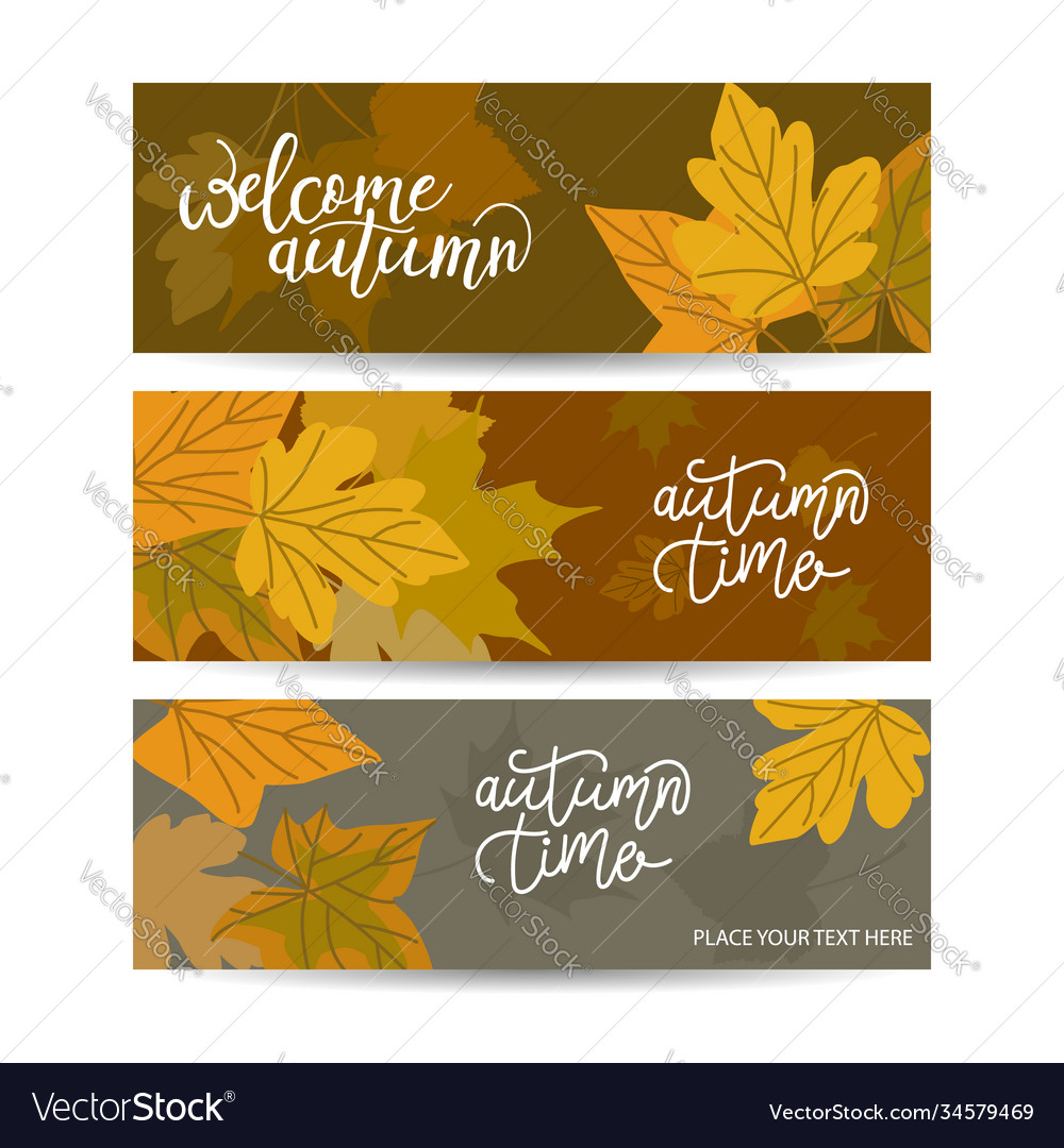 Set three horizontal banners with autumn maple