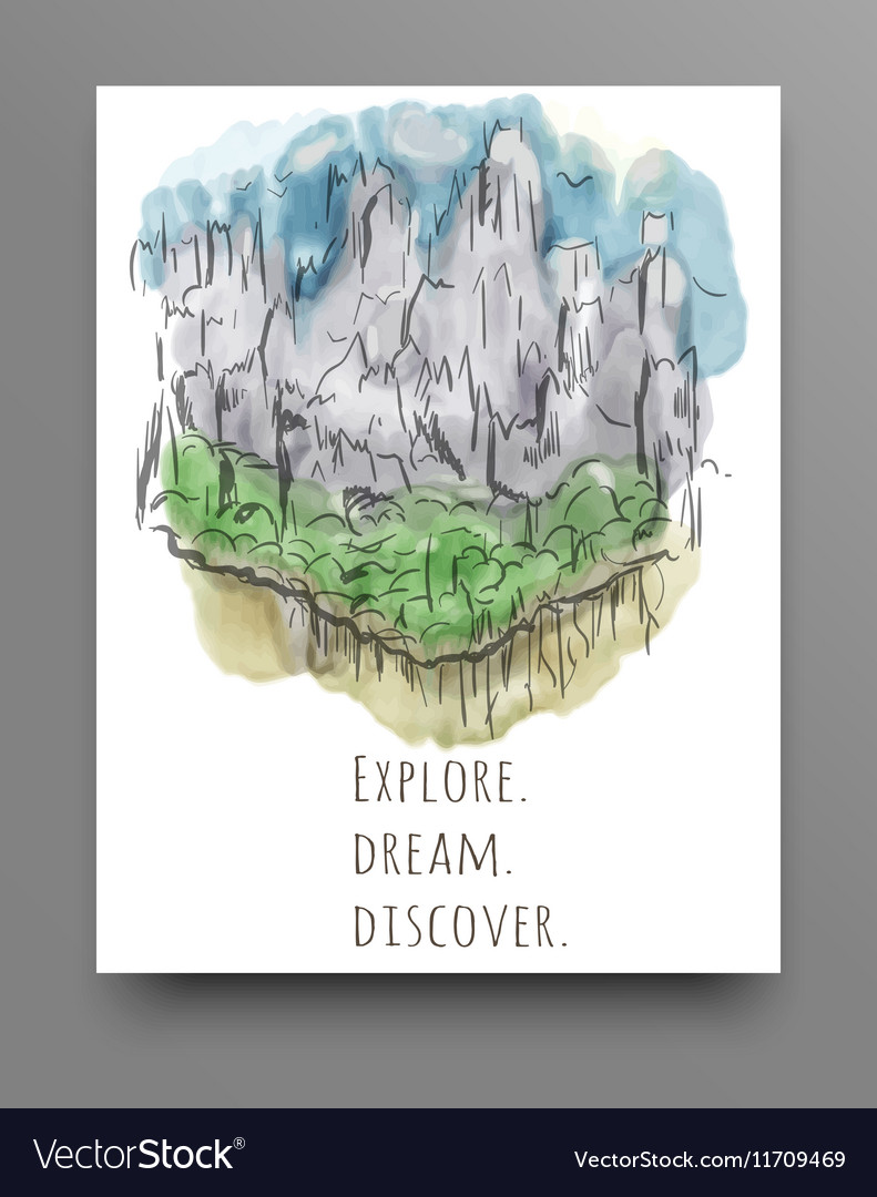 Travel concept hand drawn over green watercolor