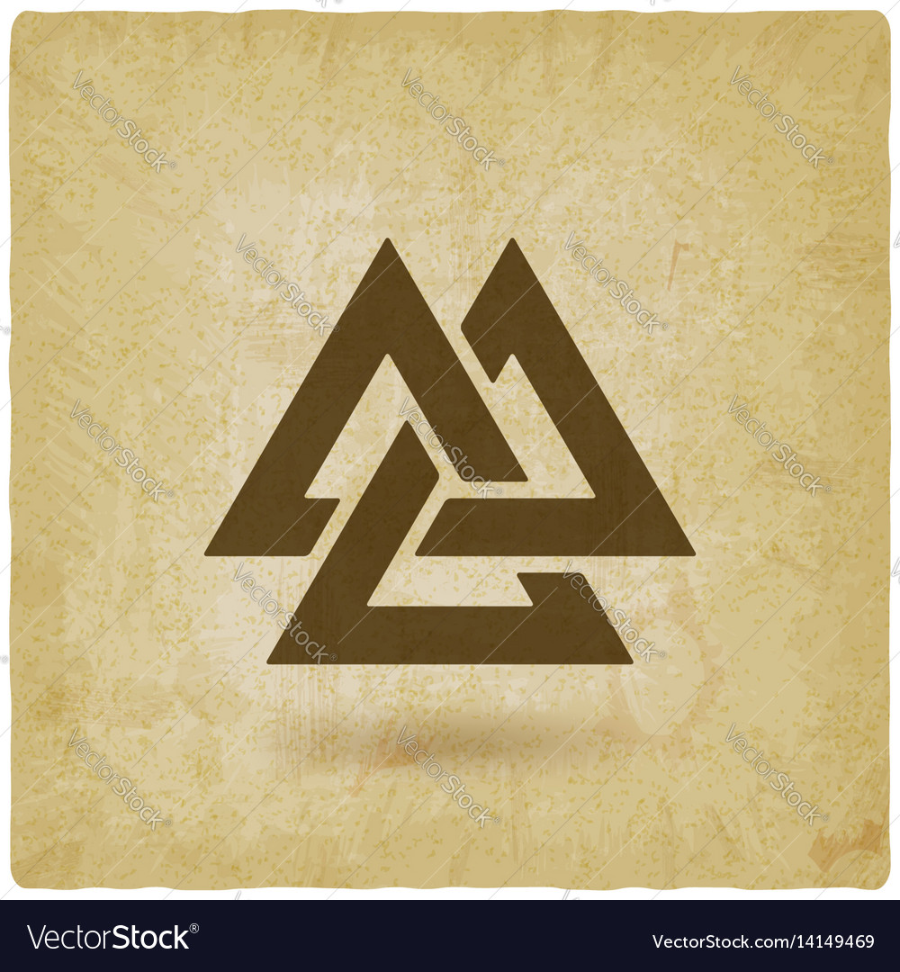 Valknut Symbol Interlocked Triangles Old Vector Image