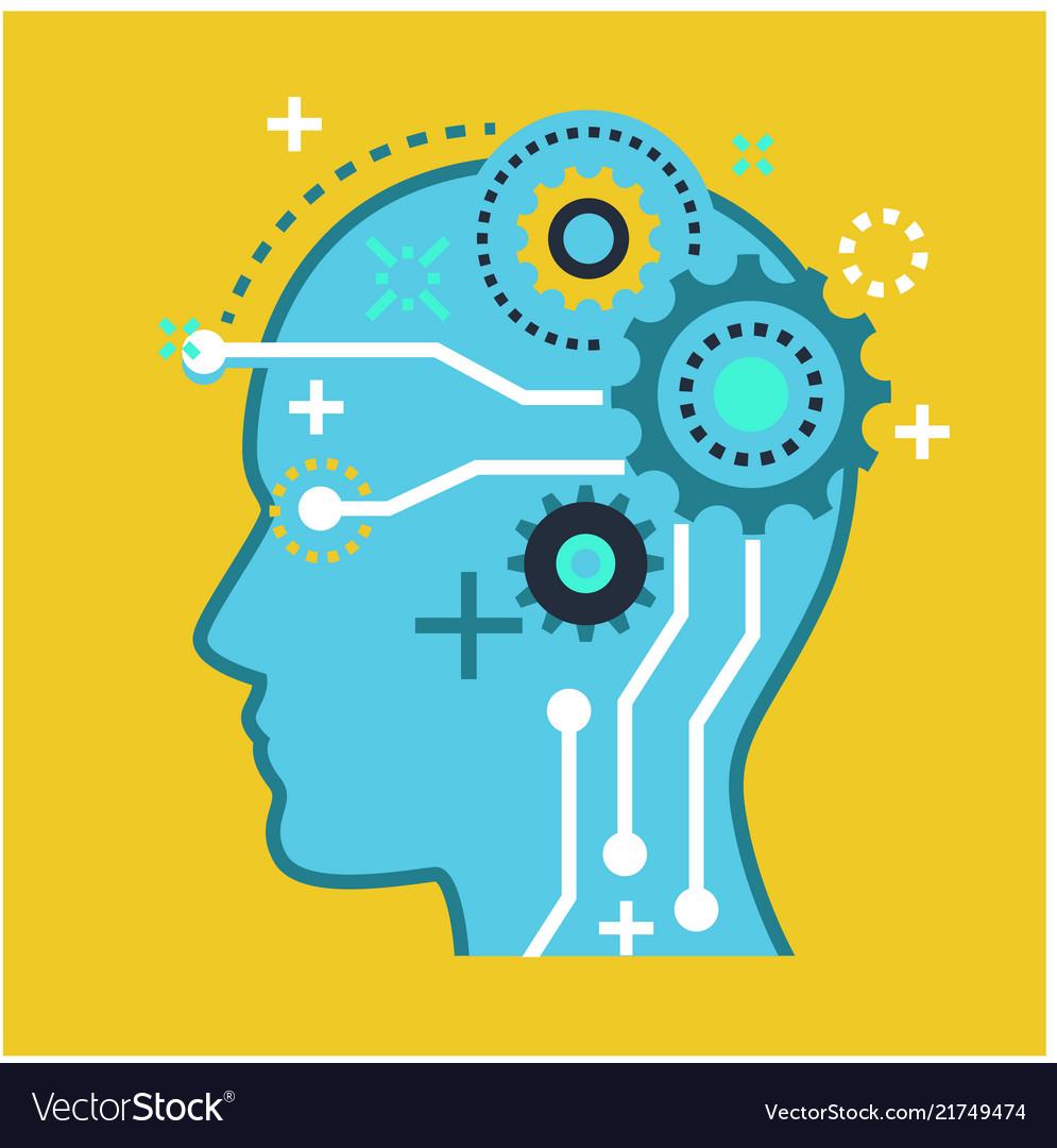 Brain artificial intelligence symbol