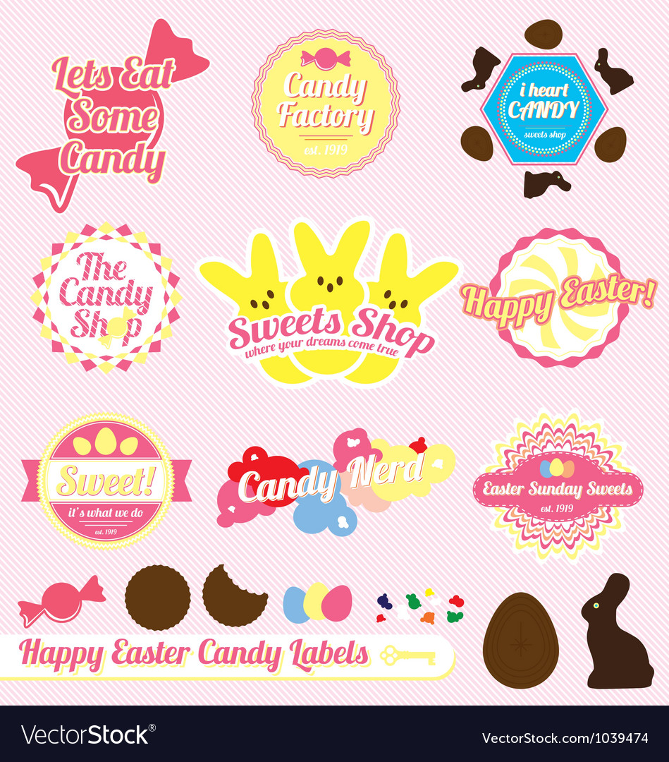 Easter Candy Labels and Icons vector image