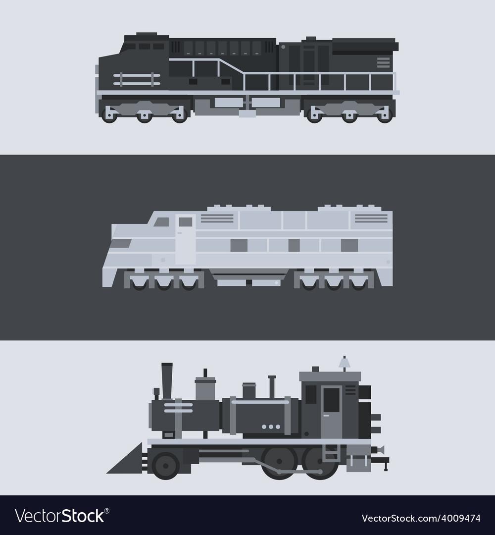 Flat design train locomotive set