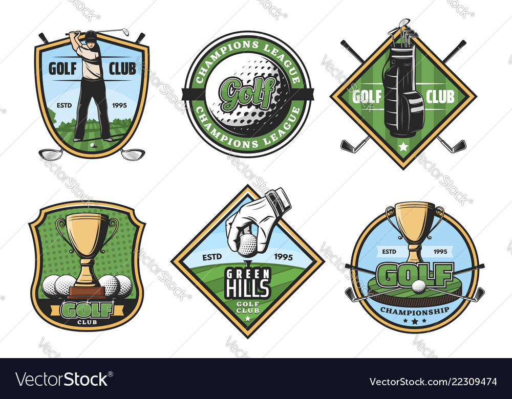 Golf game icons with sport items and player or cup
