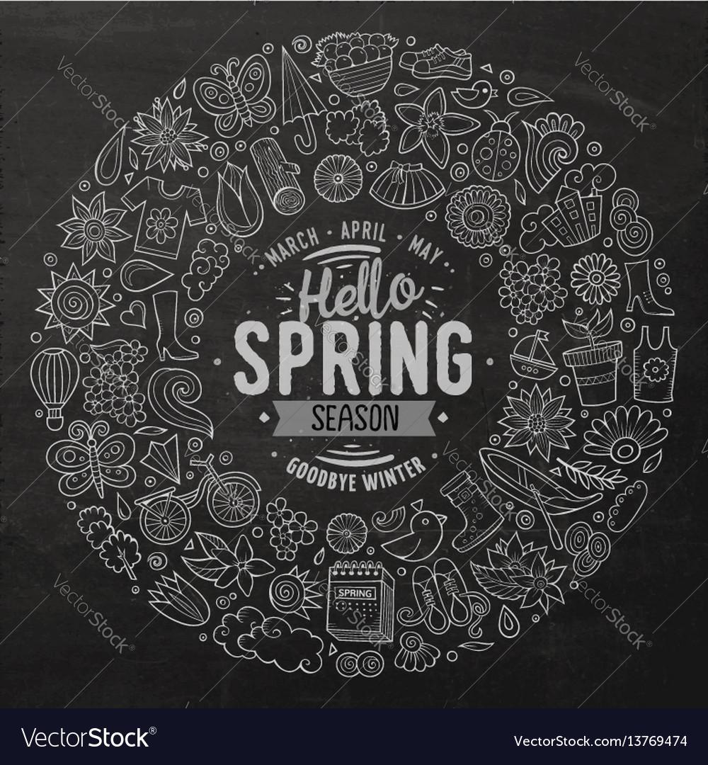 Hand drawn set of spring cartoon doodle