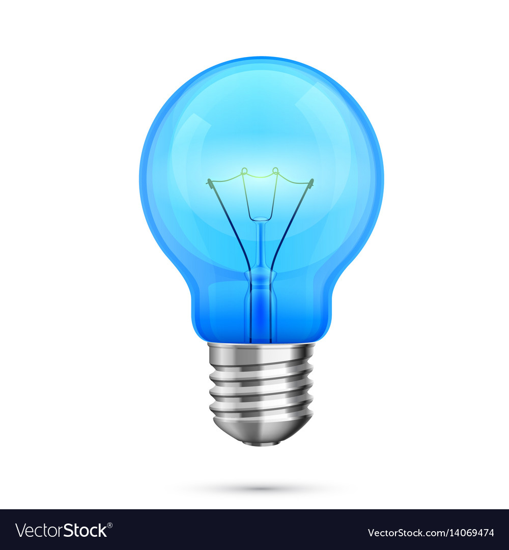 Lamp idea icon object blue light vector image