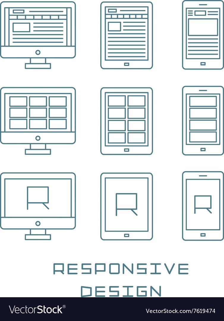Line icons set flat design responsive web
