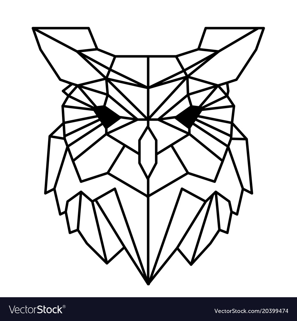 Modern Geometry Owl Design Tattoo Image Royalty Free Vector