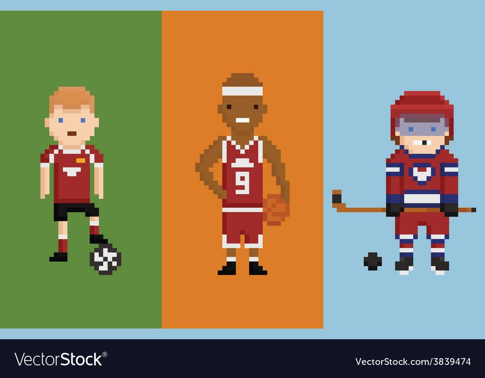 Pixel Art Style Sportsman Football