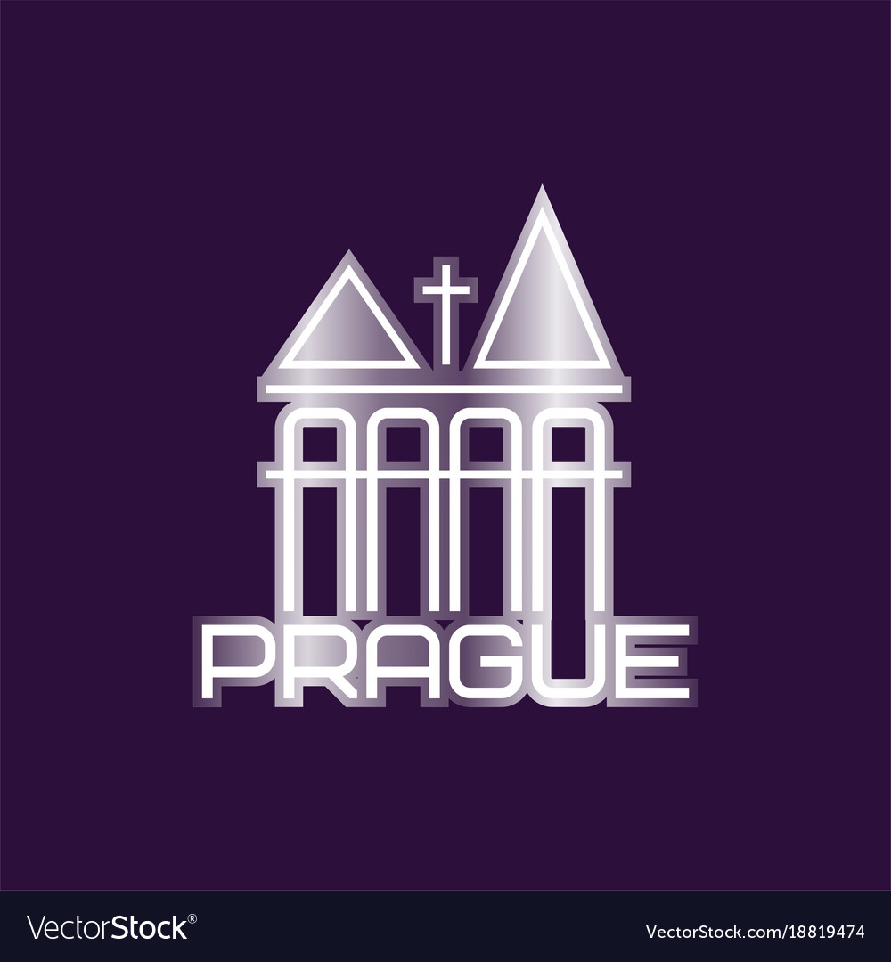 Prague symbol with church building or